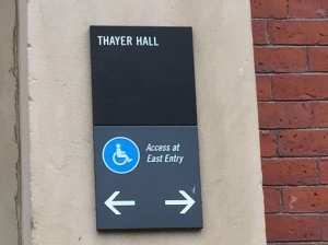 Thayer Hall accessibility sign at Harvard University